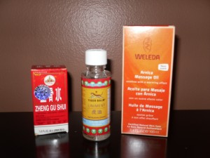 Arnica used topically can reduce pain and inflammation, Other topical pain relievers are tiger balm and Zheng Gu Shui